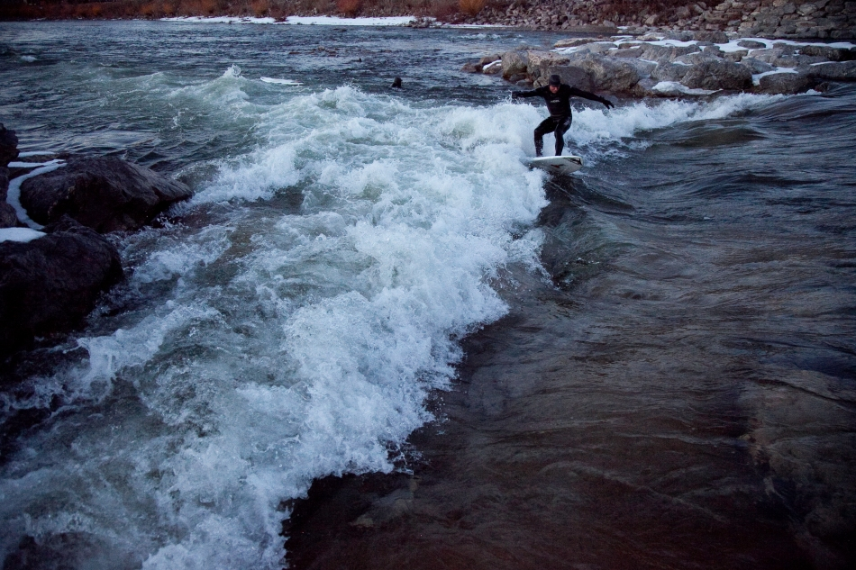 Winter River Surfing